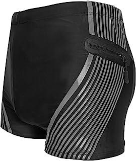 男士游泳泳裤,男孩游泳压缩泳裤沙滩短裤耐久长跑训练泳衣沙滩短裤带拉链口袋黑色(大号)