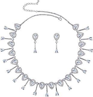WeimanJewelry 方晶锆石泪珠新娘吊坠项链和吊坠耳环套装适合女士婚礼新娘