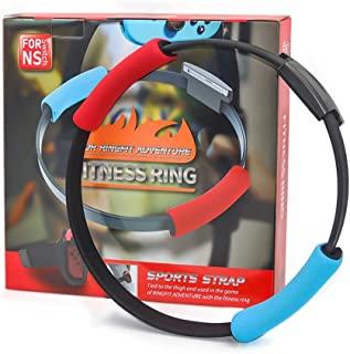 Nintendo Switch Adventure Game Ring Fit Bundle - 环健身,弹性腿部固定带和环形握把带套装,适用于 NS Yoga Joy Con 身体传感器运动配件