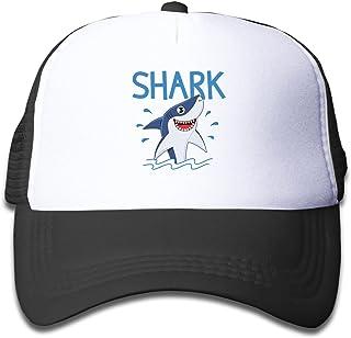 JEKGLEY 海洋鲨鱼青年可调节网眼帽棒球卡车司机帽适合男孩和女孩黑色