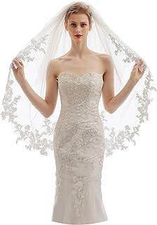 EllieHouse 2 层指尖长度婚礼新娘面纱带梳子 X07