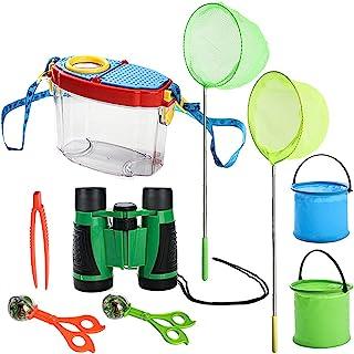 STARSWR 儿童自然探险玩具露营户外套件探险家昆虫和蝴蝶网捕虫器放大玻璃昆虫观察盒 适合男孩女孩 9 件
