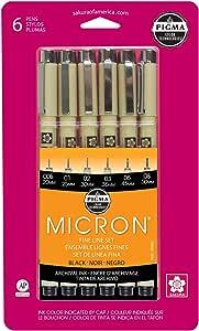 樱花 Pigma 微米墨水笔套装 黑色 6 Pen Set 30062