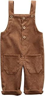 幼儿儿童婴儿男孩女孩灯芯绒背带背带裤纯色背带裤吊带裤挂脖连衣裤带口袋套装