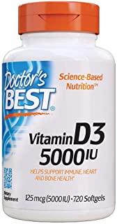 Doctor's BEST 维生素D3 5000 0IU,Non-GMO,不含麸质,不含大豆,720粒软胶囊