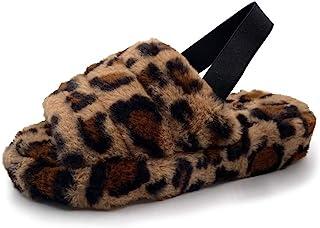 Asverd 女式交叉带一脚蹬露趾毛绒家居拖鞋
