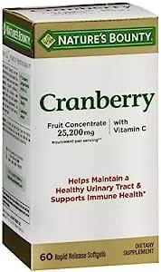 Nature's Bounty 自然之宝 三倍浓度蔓越莓胶囊 含维生素 C 60 Softgels (Pack of 2) 120