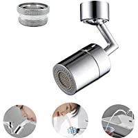 水龙头曝气器,720° 大角度大流量喷雾醒气器,双功能厨房通用防溅过滤水龙头,4层净过滤器,用于洗脸、洗漱和眼部冲洗。