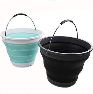 SAMMART 可折叠塑料桶 – 可折叠圆形浴缸 – 便携式钓鱼水桶 – 节省空间的户外水壶 2 件盒装