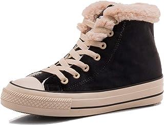 U-lite 女式时尚毛皮衬里运动鞋靴保暖冬季滑板鞋