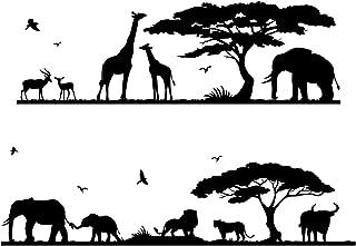 Decowall DWG-607B Safari 丛林动物图案儿童墙贴即剥即贴墙贴 适用于儿童托儿所卧室客厅
