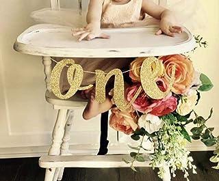 Gold ONE Banner First Birthday 1st 婴儿派对装饰高脚椅闪粉