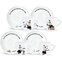 Bialetti 4 件套咖啡杯带杯子和碟子装饰
