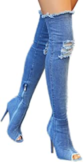 牛仔布蓝色过膝高筒靴女式夏季露趾细高跟时尚牛仔裤过膝靴