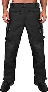 Viking Cycle Saxon 重型装甲 600D 可调节高级纺织摩托车骑行裤男式 黑色 X-Large