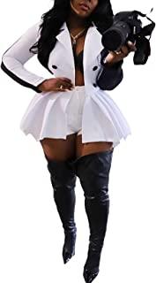 女式性感荷叶边西装上衣 翻领 V 领长袖纽扣夹克工作褶皱下摆衬衫迷你连衣裙