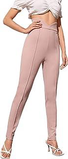 DIDK 女式高腰拉链门襟缺口宽腰带紧身裤