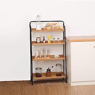 4 层梯子架金属框架 带木制 长方形托盘 立式搁板 工业收纳架 适用于厨房、客厅、办公室、卧室和浴室