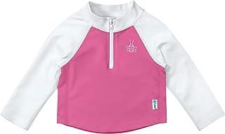 i play。 男婴长袖拉链*衣衬衫*蓝和水蓝拼色 6 个月 White & Hot Pink 24 Months