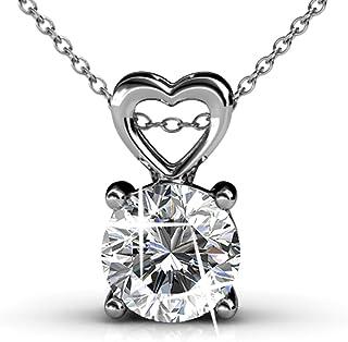 Cate & Chloe Marian 18k 白金吊坠项链,带施华洛世奇水晶,美丽心形项链女士项链,圆形切割钻石水晶项链,银色链项链 情人节首饰