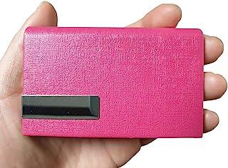 (红色)名片夹 - 9.4 x 6.1 x 1.8 厘米 - 皮革,不锈钢,磁铁/赠访客、员工、活动参与者/人造皮革卡