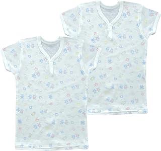 婴儿故事2枚装碎花印花短袖纽扣衬衫 kt15114日本制造 萨克斯色 95