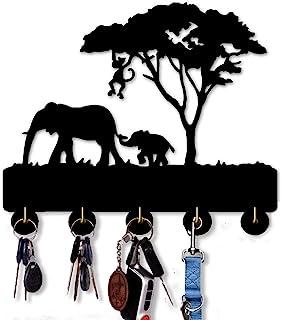 大象设计钥匙钩自粘钥匙扣 | 卧室厨房办公室重型挂钩 | 五个金属挂钩钥匙外套伞钩。 (大象)
