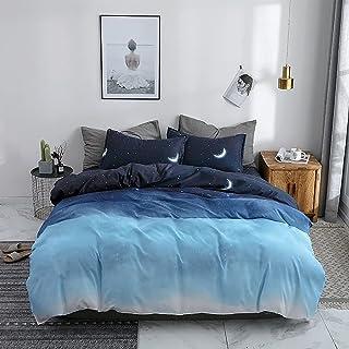 jormey Galaxy 羽绒被套双人尺寸星空装饰床罩外太空主题装饰棉被罩青少年男孩被套 3D 星空系列床上用品套装(蓝色星空,单人床)