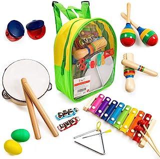 Tomi Music-18 件乐器套装适用于幼儿和儿童-木质混音玩具和节奏乐器包括木琴、鼓 -促进早期发展和教育学习。