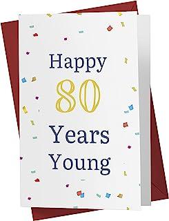 有趣的 80 岁生日卡 – 有趣的 80 周年纪念卡 – 80 岁生日快乐 – 有趣的80 岁生日贺卡 – 带红色信封(一张卡片)