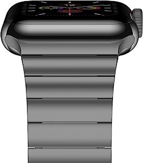 iiteeology 支持蘋果手表表帶系列5/4系列3/2/1*版不銹鋼表帶女款男款 (太空灰-1排, 42mm/44mm)