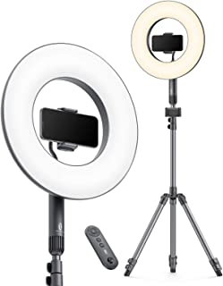 TaoTronics 14 英寸(约 35.5 厘米)环灯,可调光 LED 环灯,带 78 英寸(约 198.2 厘米)三脚架支架,外部 36 瓦 6500 K,USB 充电端口,便携包,灯光遥控器,2 个手机支架和快门,适用于 YouTube...