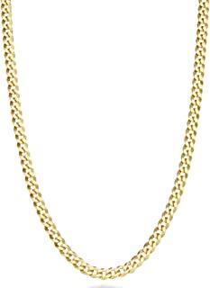 MiaBella 纯 18k 金纯银意大利 3.5mm 钻石切割古巴链式项链女士男士,40.64 厘米 - 45.72 厘米 - 50.8 厘米 - 55.88 厘米 - 60.96 厘米 - 66.04 厘米
