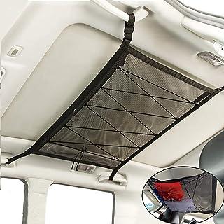WANLIAN SUV 内部天花板货物存储网 - 双层网眼长旅行储物收纳袋 32.4 英寸 x 22.5 英寸,可调节带扣和额外拉绳收紧汽车储物袋