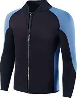 Flexel 2 毫米氯丁橡胶潜水服夹克男式防*衣上衣适合男士浮潜水肺潜水皮划艇冲浪游泳前拉链保暖潜水服适合男孩青少年青少年保暖