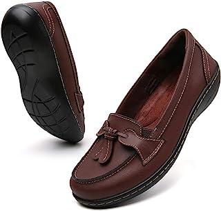 Maichal 乐福鞋女式一脚蹬皮革舒适橡胶鞋底平底鞋
