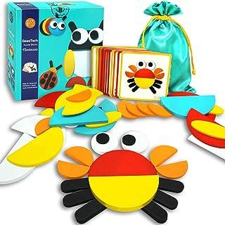 BEESTECH Montessori 幼儿木制拼图,教育学习玩具形状拼图,适合 2、3、4、5、6 岁幼儿、分类和堆叠幼儿游戏、智商拼图幼儿玩具