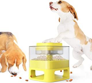 狗狗喂食器,DOTPET 狗狗慢速喂食器宠物自给器*停止无聊减少增加智商互动拼图狗狗玩具喂食器狗狗食物分配器适用于小型、中型和大型犬/猫/宠物(黄色)