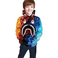 青少年连帽衫运动衫时尚 3D 印花连帽灰色粉红色血鲨男孩女孩 7-20 岁