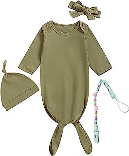 MoryGooder 新生儿男孩女孩居家服装棉质睡衣中性款纯色睡衣带奶嘴夹