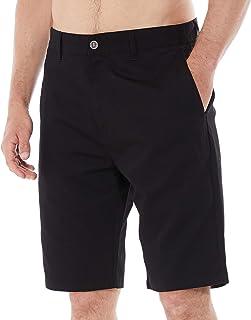 DINOGREY 休闲修身男式斜纹棉布短裤,正面无褶拉链门襟,休闲直筒裤