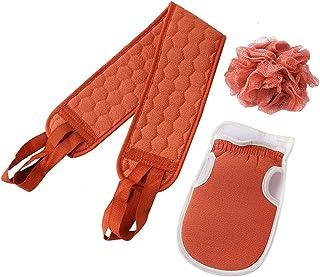 3 件去角质背部磨砂膏适用于淋浴淋浴 磨砂套装 去角质毛巾 沐浴手套 沐浴海绵淋浴丝瓜 深层清洁放松 男女身体(砖红色)