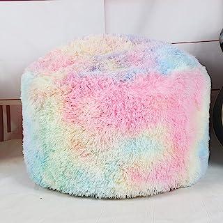未填充的Ottoman Pouf 盖子,小人造毛皮脚凳,50.8 x 30.4 厘米毛绒椅,圆形奥斯曼座椅,地板豆袋椅,脚凳带客厅,卧室,儿童房彩色