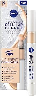 NIVEA 妮维雅 Hyaluron Cellular Filler 3合1 眼部护理 遮瑕膏 4 毫升 透明质酸 保护笔 适用于眼圈 *和粉刺