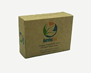 Grass Fed 牛肉皂 – *薄荷精油。* 手工制作、草饲、无化学成分牛油皂条(3 条)。