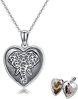 TRISHULA 指南针小盒式项链,心形小盒式吊坠,饰有大象吊坠,复古首饰,送给女士、女孩、男孩/男士和其他你爱的*礼物