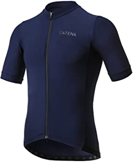 CATENA 男式骑行运动衫短袖衬衫高弹性运动训练运动 T 恤 深蓝色 Medium