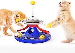 猫玩具滚轮,互动球玩具 带滚动球 风车转盘拼图 食品分配器 有趣的运动拼图 小猫玩具