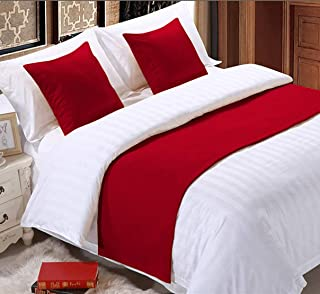 Fabricom 纯色 3 件套床上用品带 2 个枕头套,纯色围巾保护罩,床上装饰围巾,适用于卧室酒店婚礼室(单人床,红色)