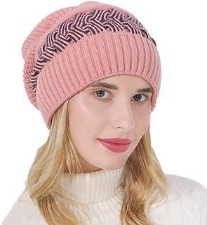 Woeoe 休闲无檐小便帽冬季帽粉色保暖毛绒帽柔软厚绳针织帽弹力针织舒适滑雪帽,适合女士和女孩